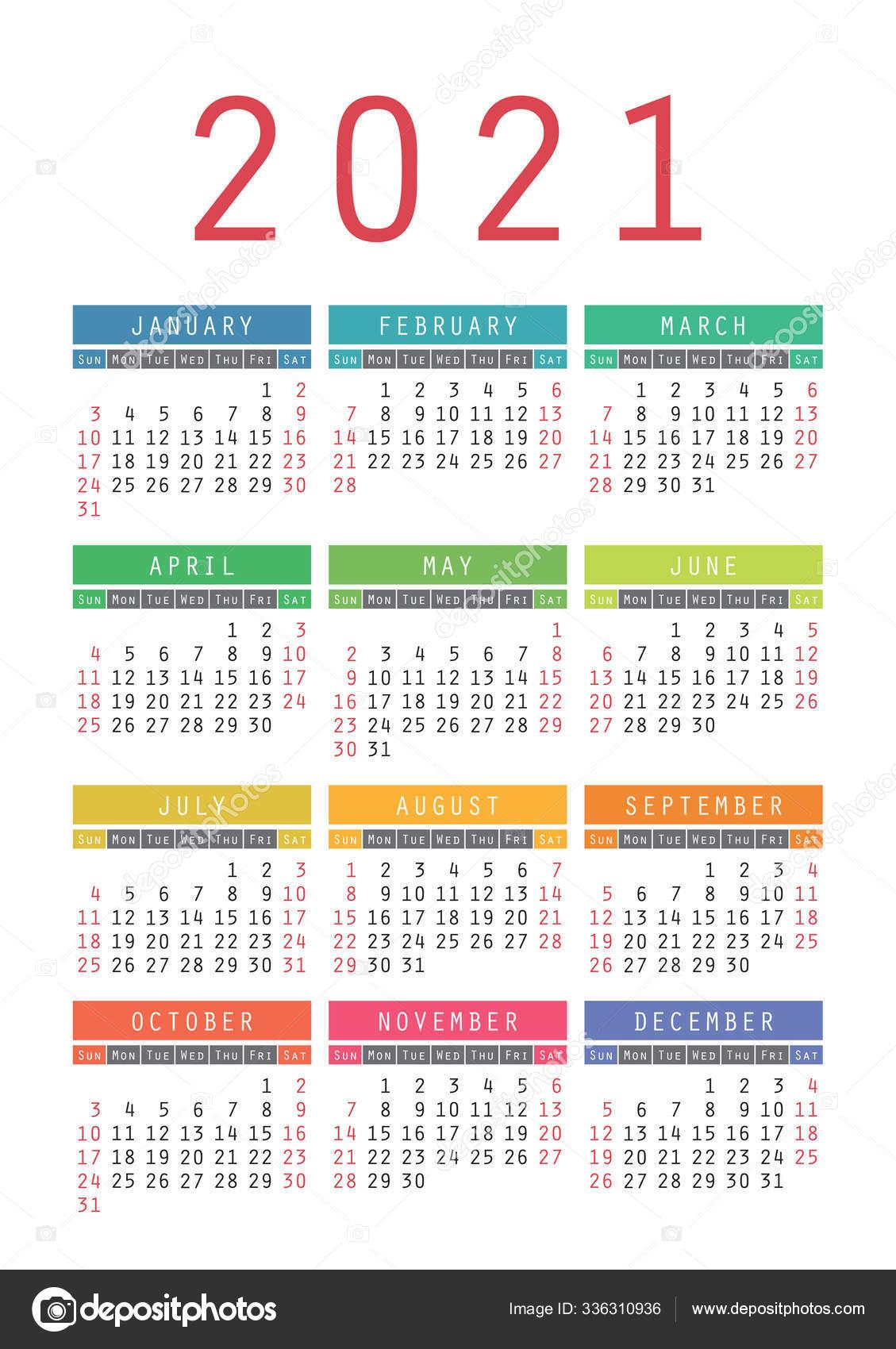 Pocket calendar 2021 year. Vector wall calender template. Simple