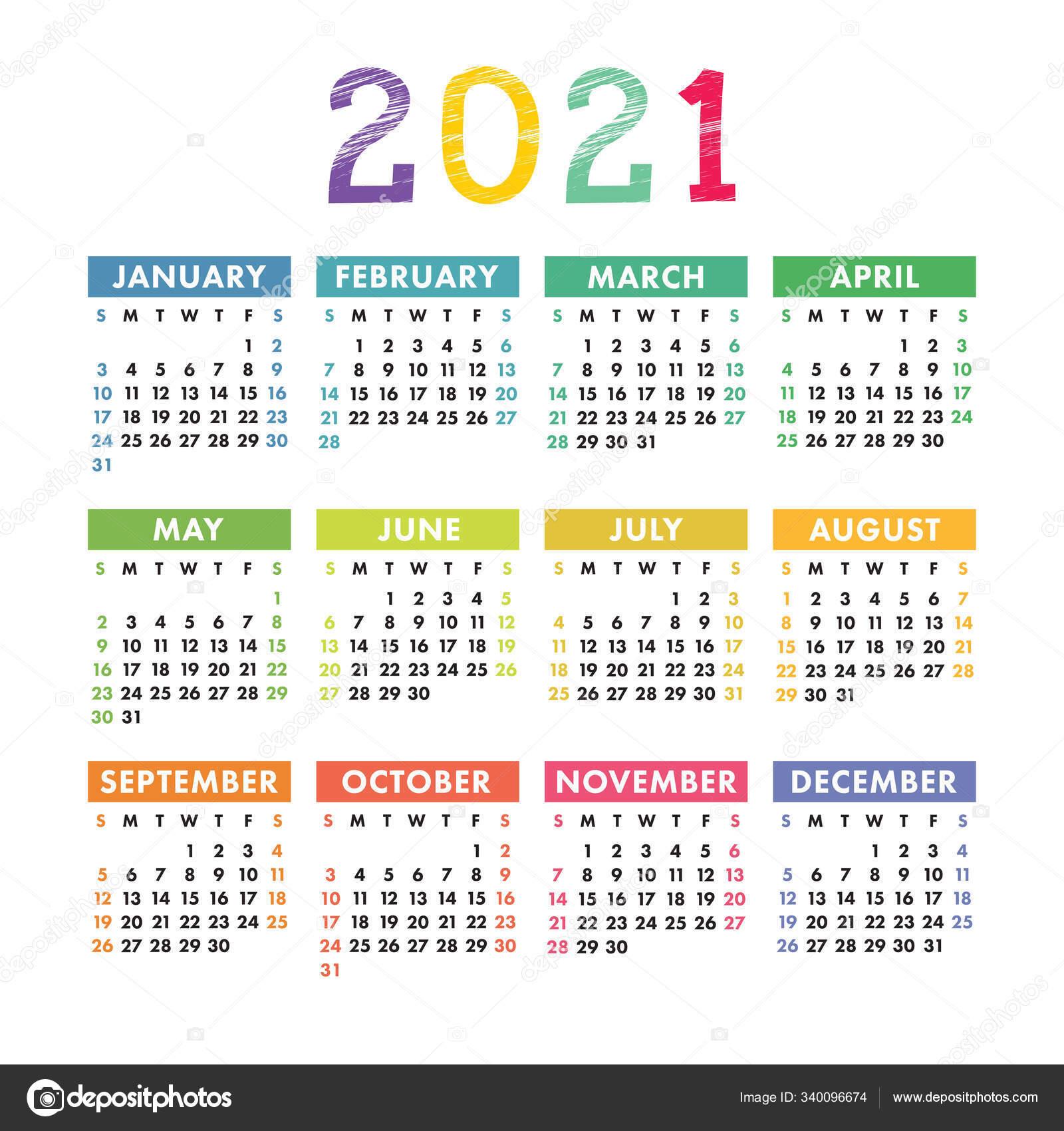 English calendar 2021. Square vector calender design ...