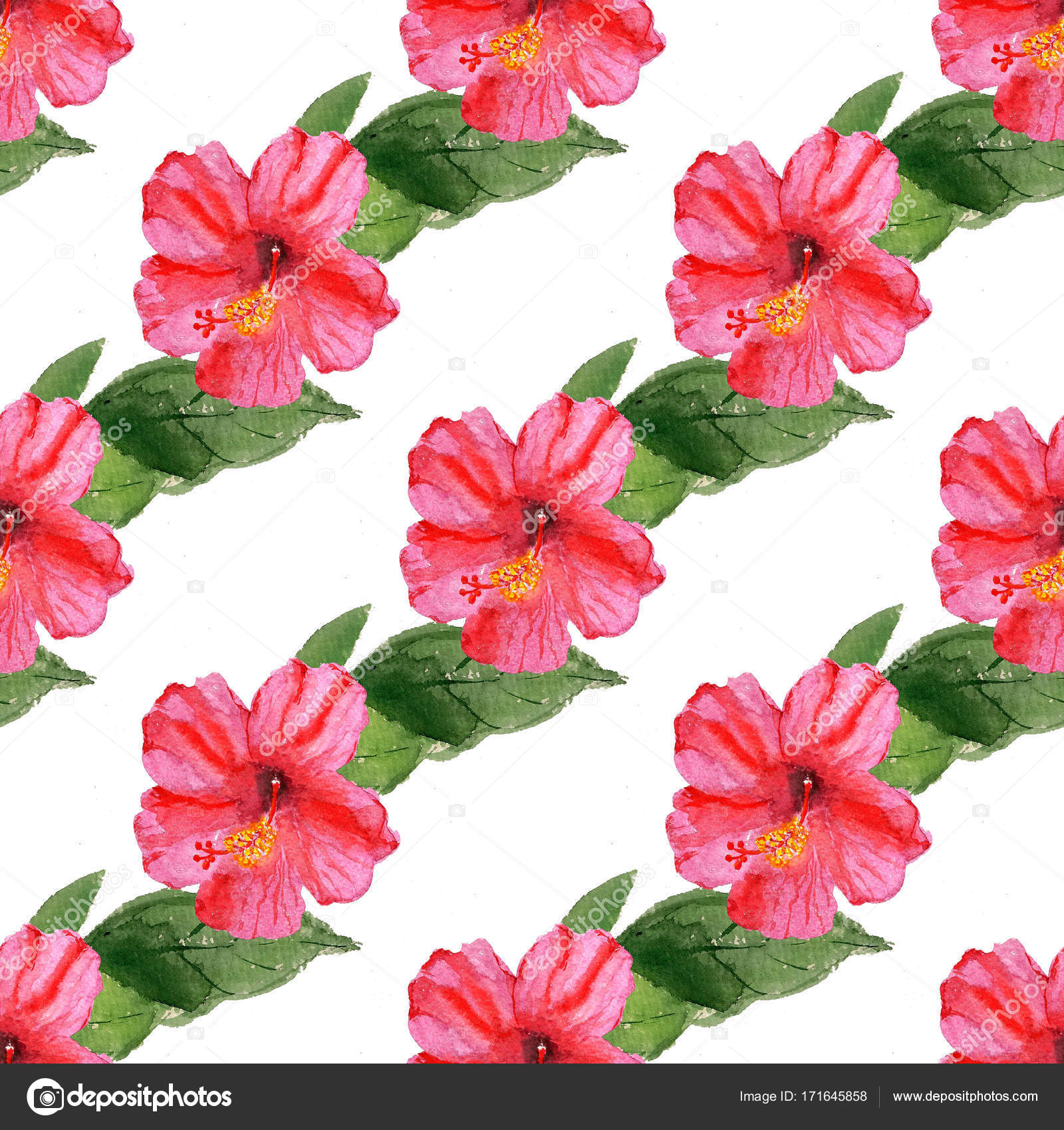 Seamless pattern with hibiscus flower stock photo shoshina seamless pattern with watercolor image of hibiscus flower good for textile fabric design wrapping paper and website wallpapers photo by shoshina izmirmasajfo