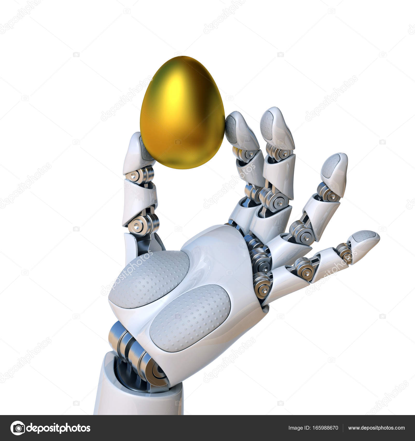 Robot Hand Holding Golden Egg Stock Photo Koya979 165988670