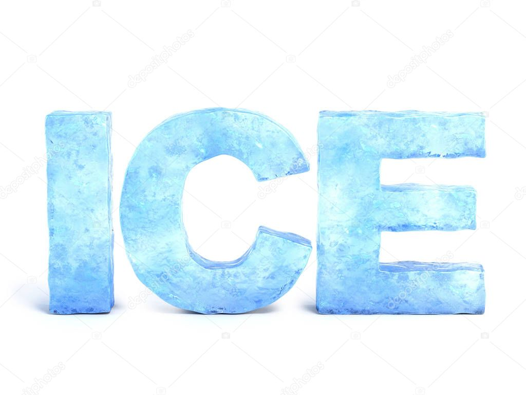 Word ice made of ice 3d rendering