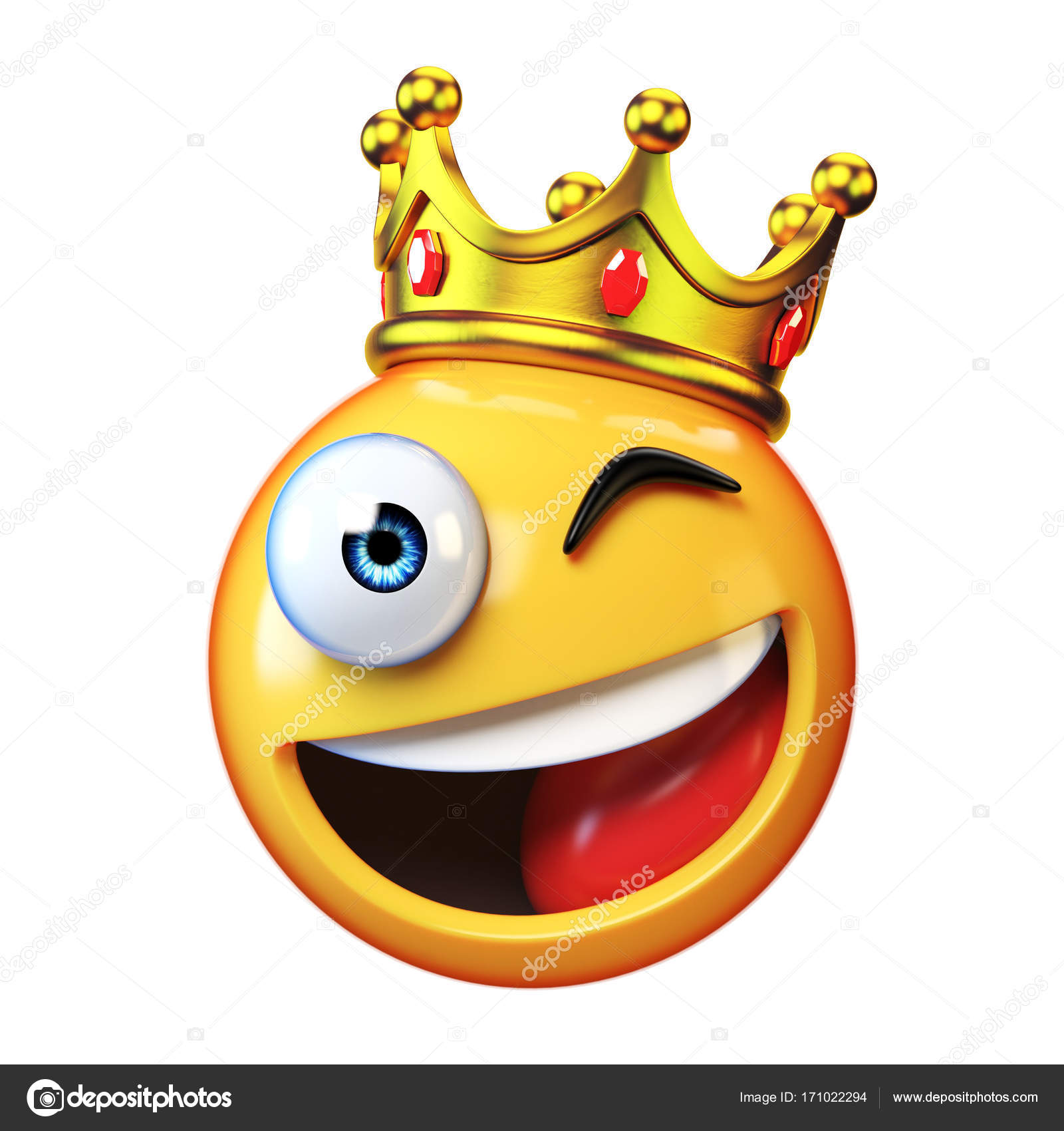 King emoji isolated on white background emoticon wearing crown 3d king emoji isolated on white background emoticon wearing crown 3d rendering stock photo biocorpaavc Gallery