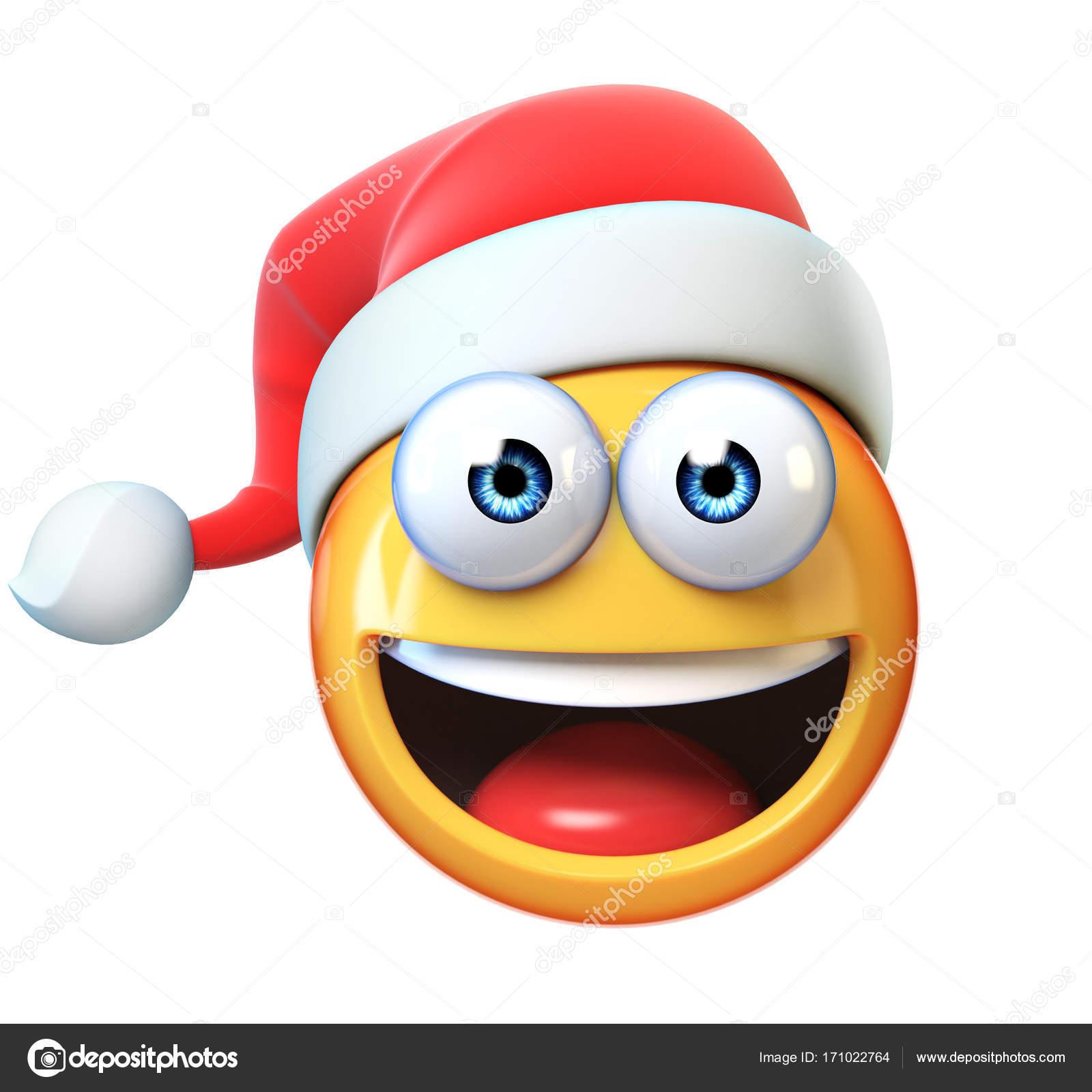 Weihnachten-Emoji isoliert auf weißem Hintergrund, Emoticon mit ...