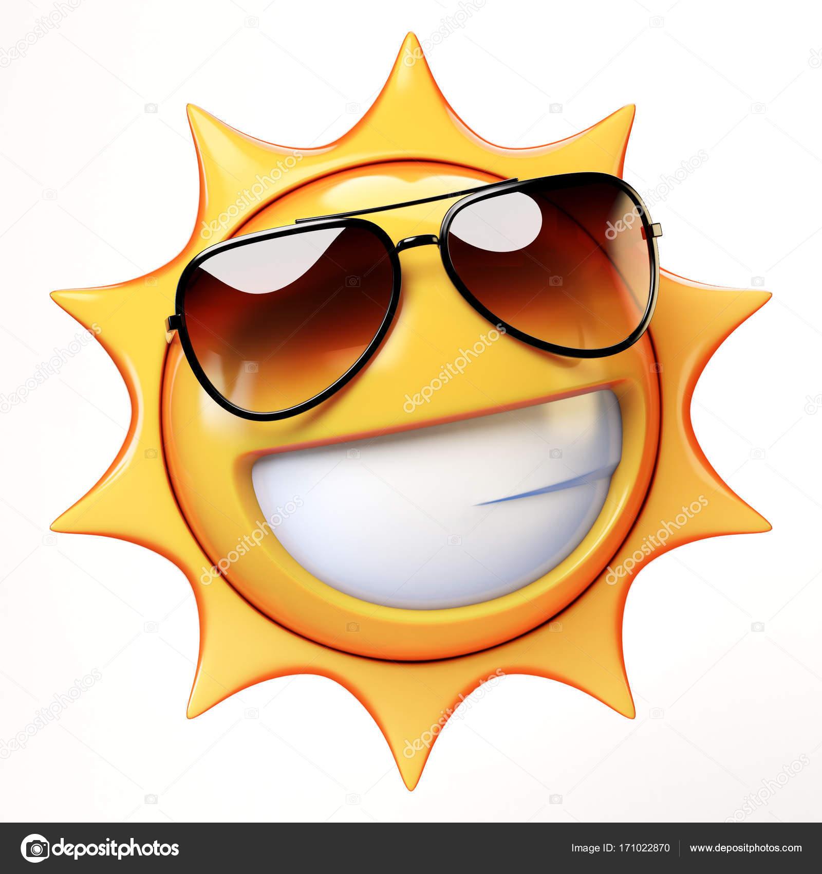 Cool emoji isolerad p vit bakgrund leende smiley med - Emoticono gafas de sol ...