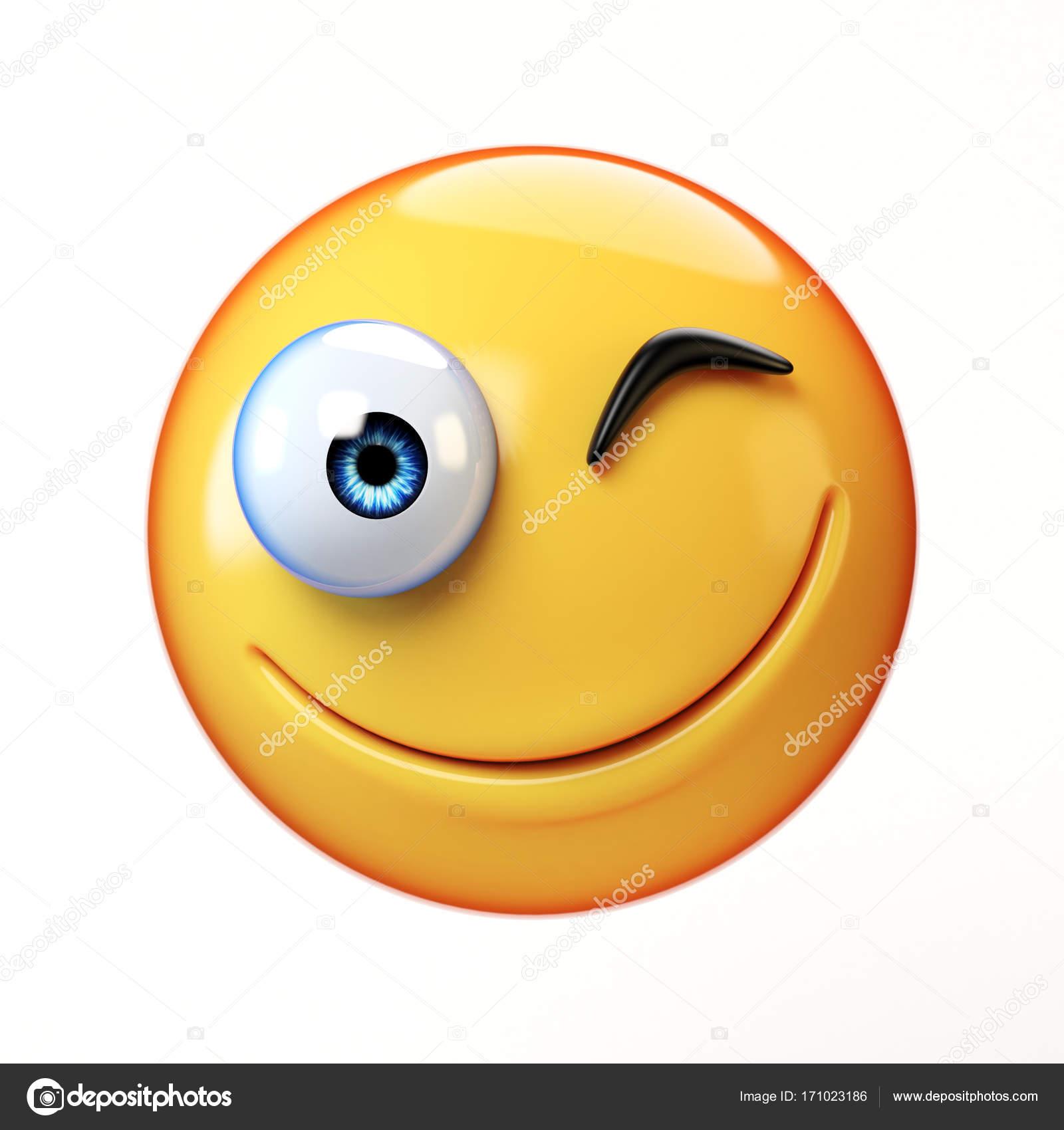 Winking Emoji Isolated On White Background Smiling Face Emoticon 3d