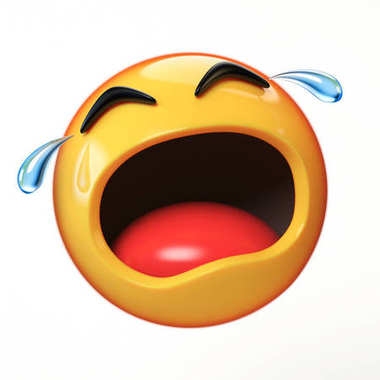 Crying emoji isolated on white background, emoticon in tears 3d rendering
