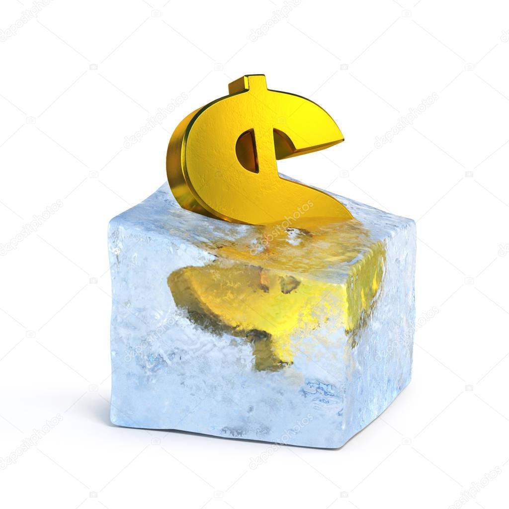 Golden dollar symbol frozen in the ice block 3d rendering