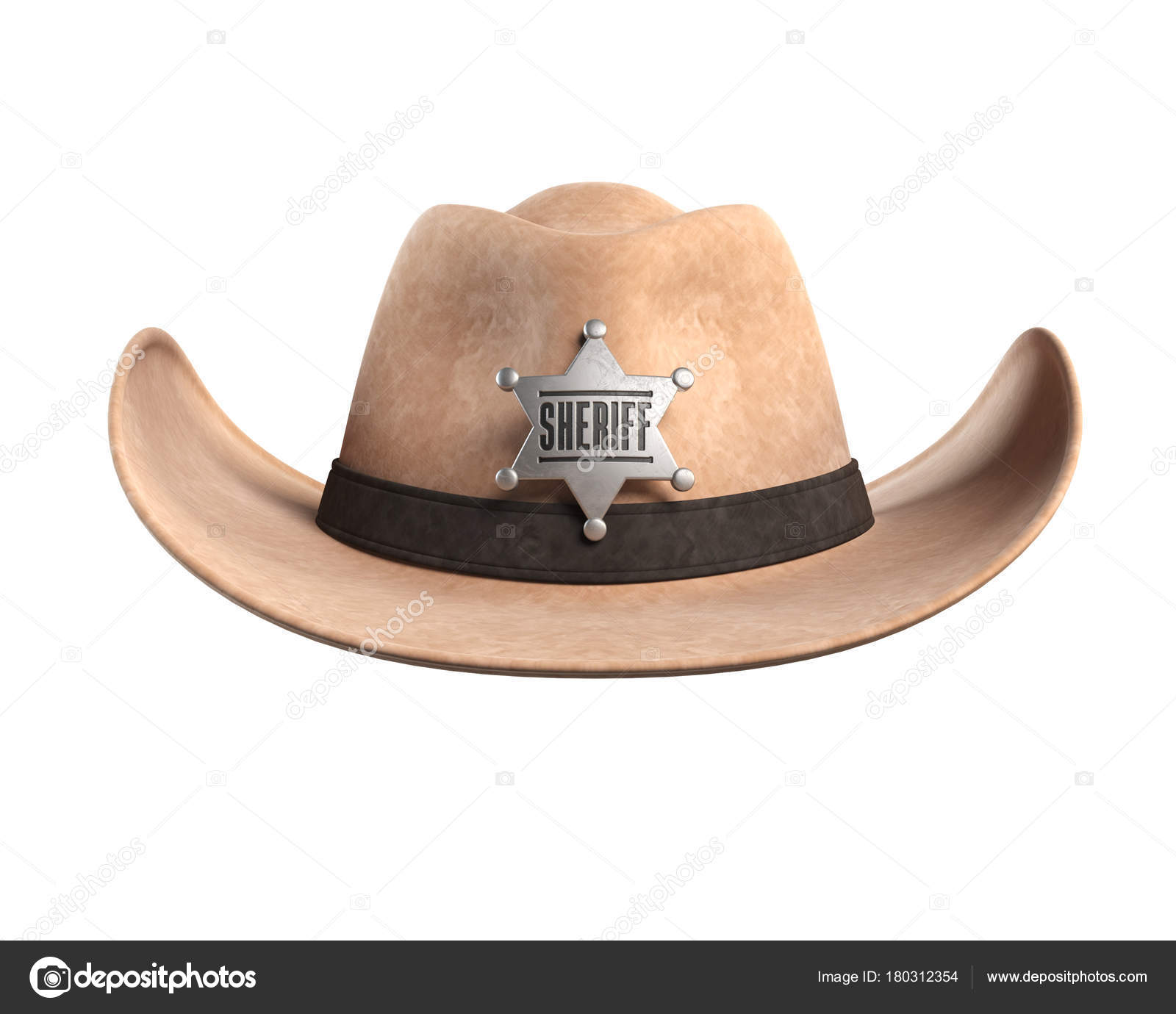 47210ce6 Sheriff Hat Isolated White Background Rendering — Stock Photo ...