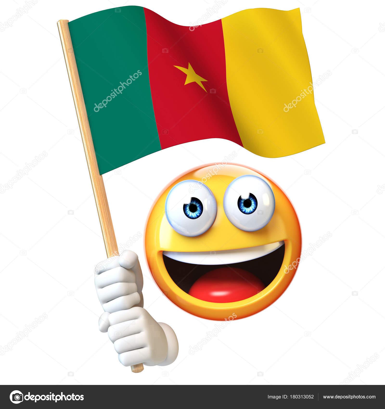 Emoji Holding Cameroon Flag Emoticon Waving National Flag