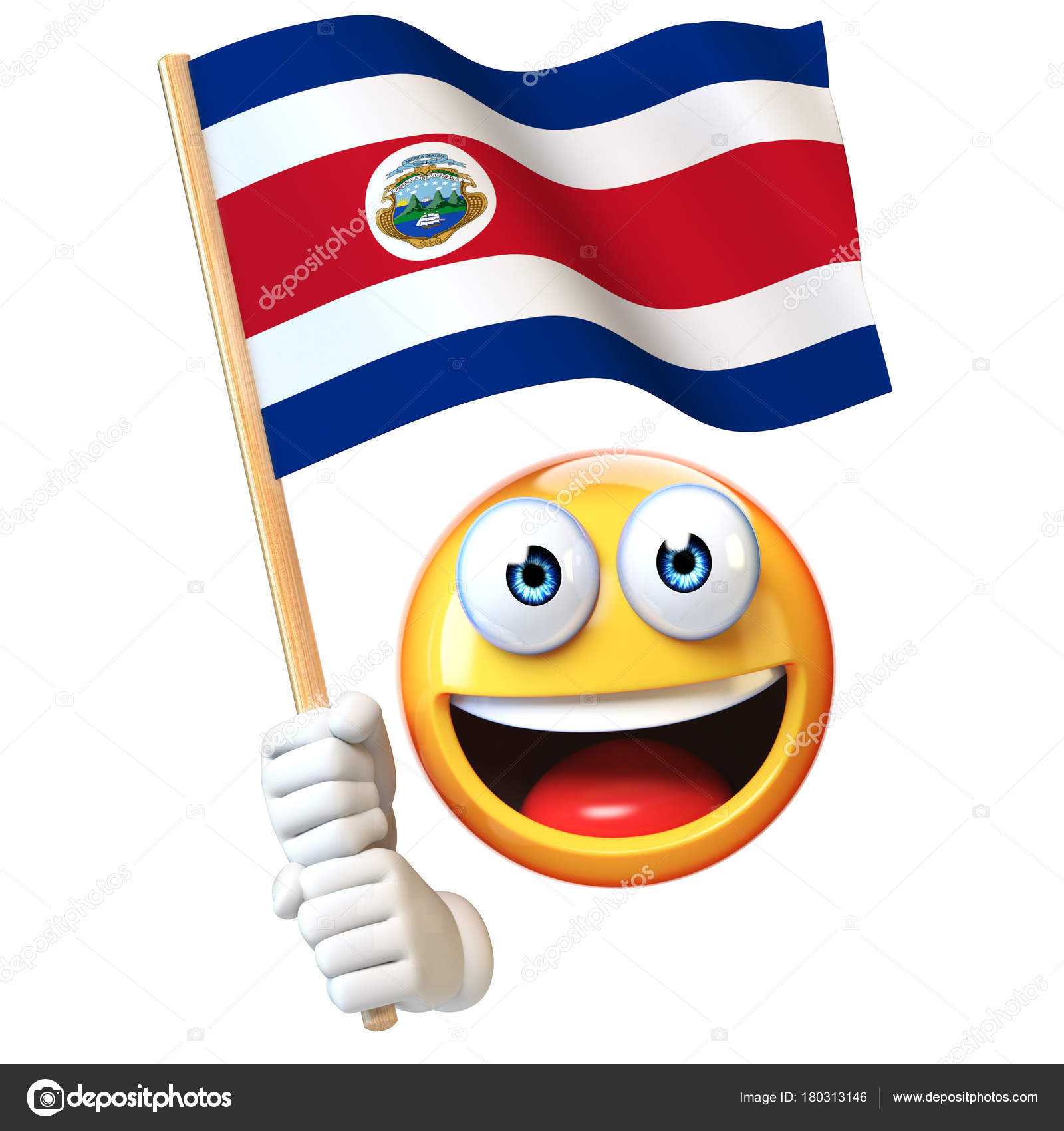emoji holding costa rica flag emoticon waving national flag costa