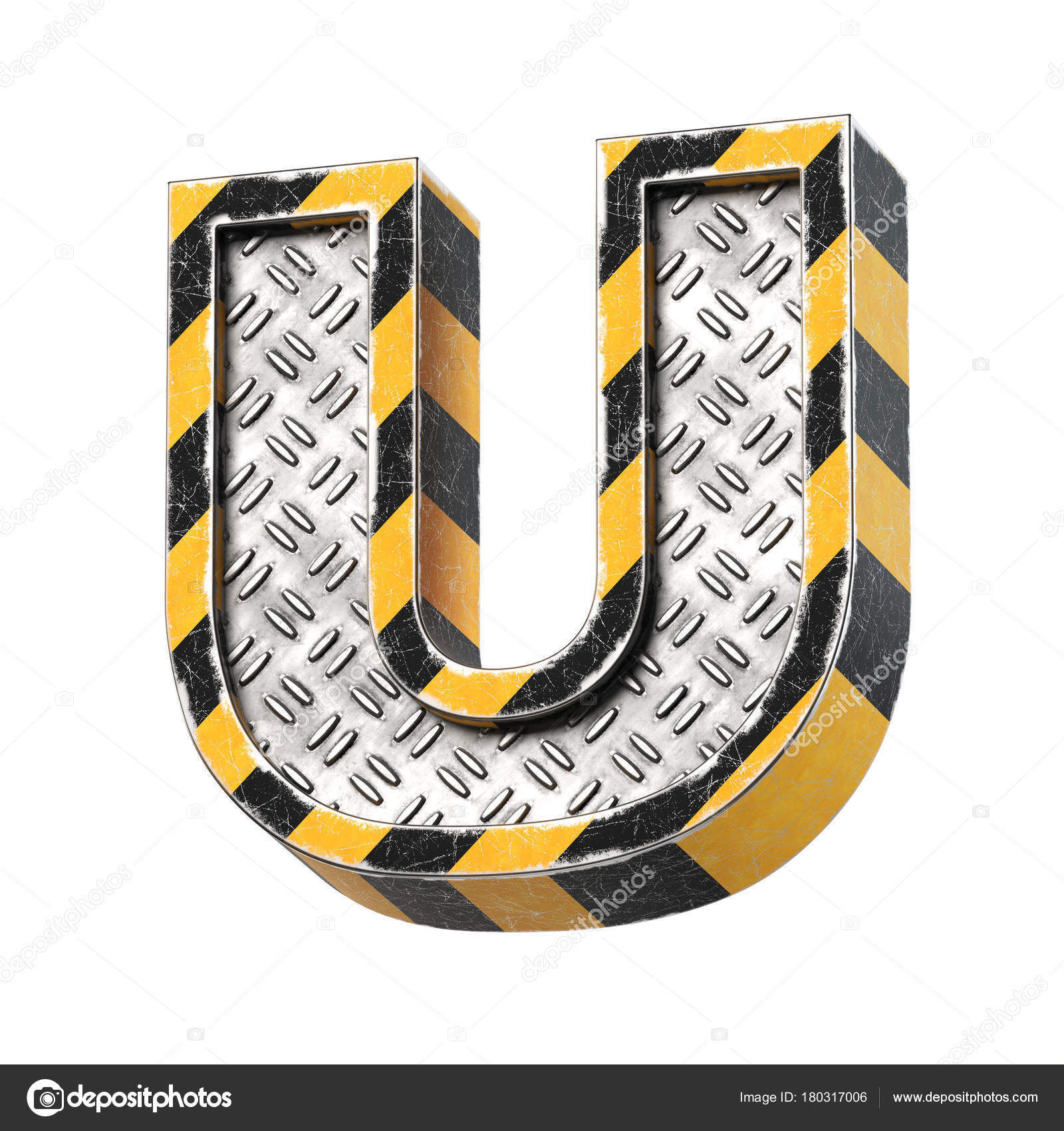 Industrial Black Yellow Striped Metallic Font Rendering Letter