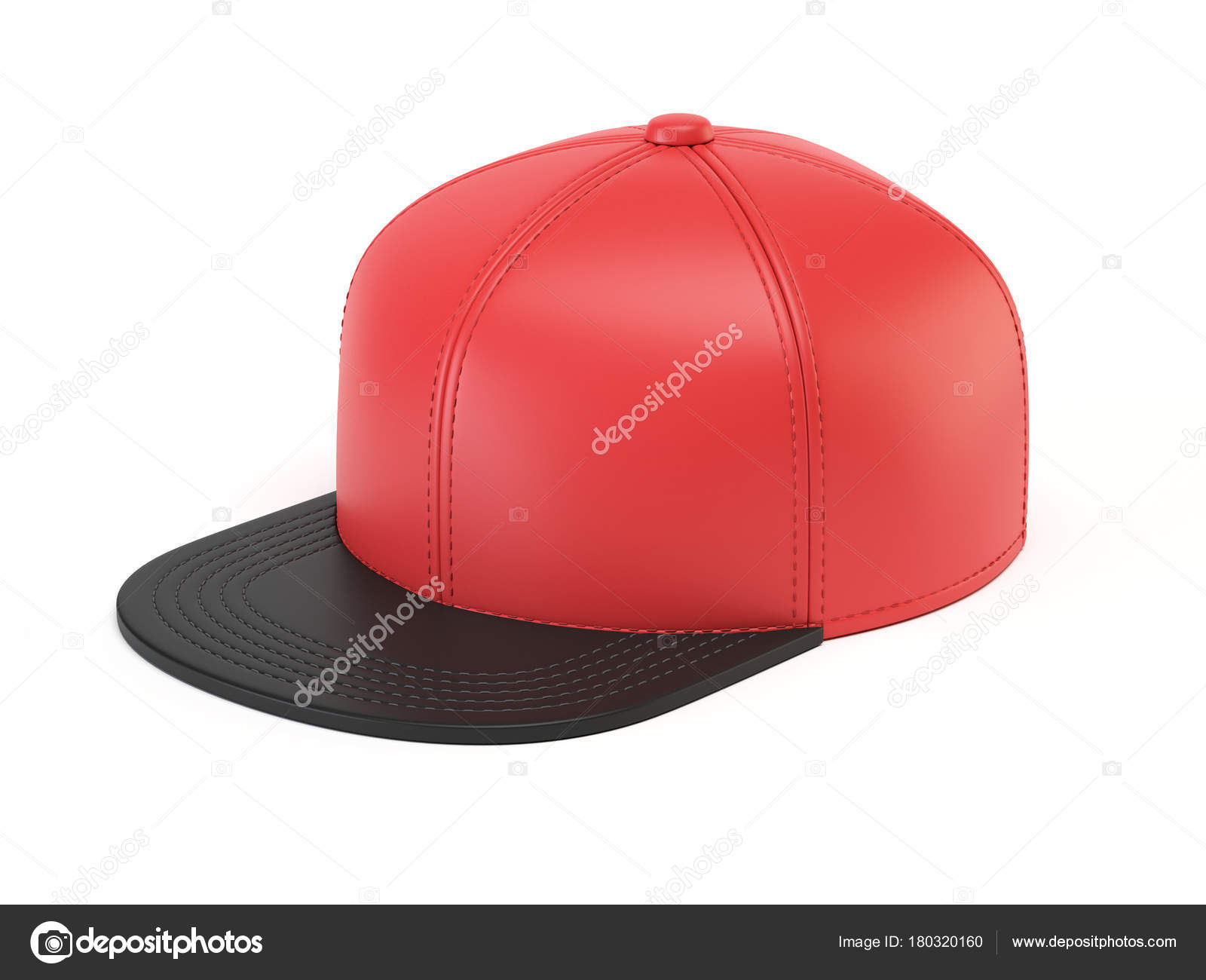 black red snap back mock blank hat template isolated white stock
