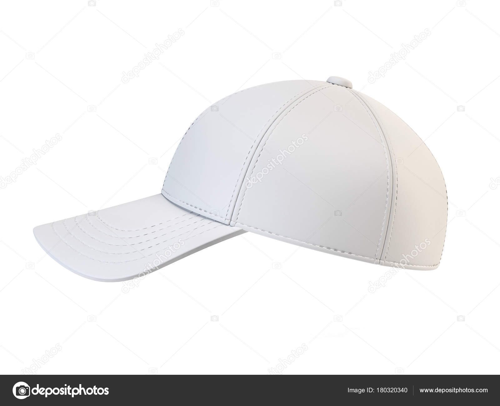 White Baseball Cap Mock Blank Hat Template Isolated Background Stock Photo