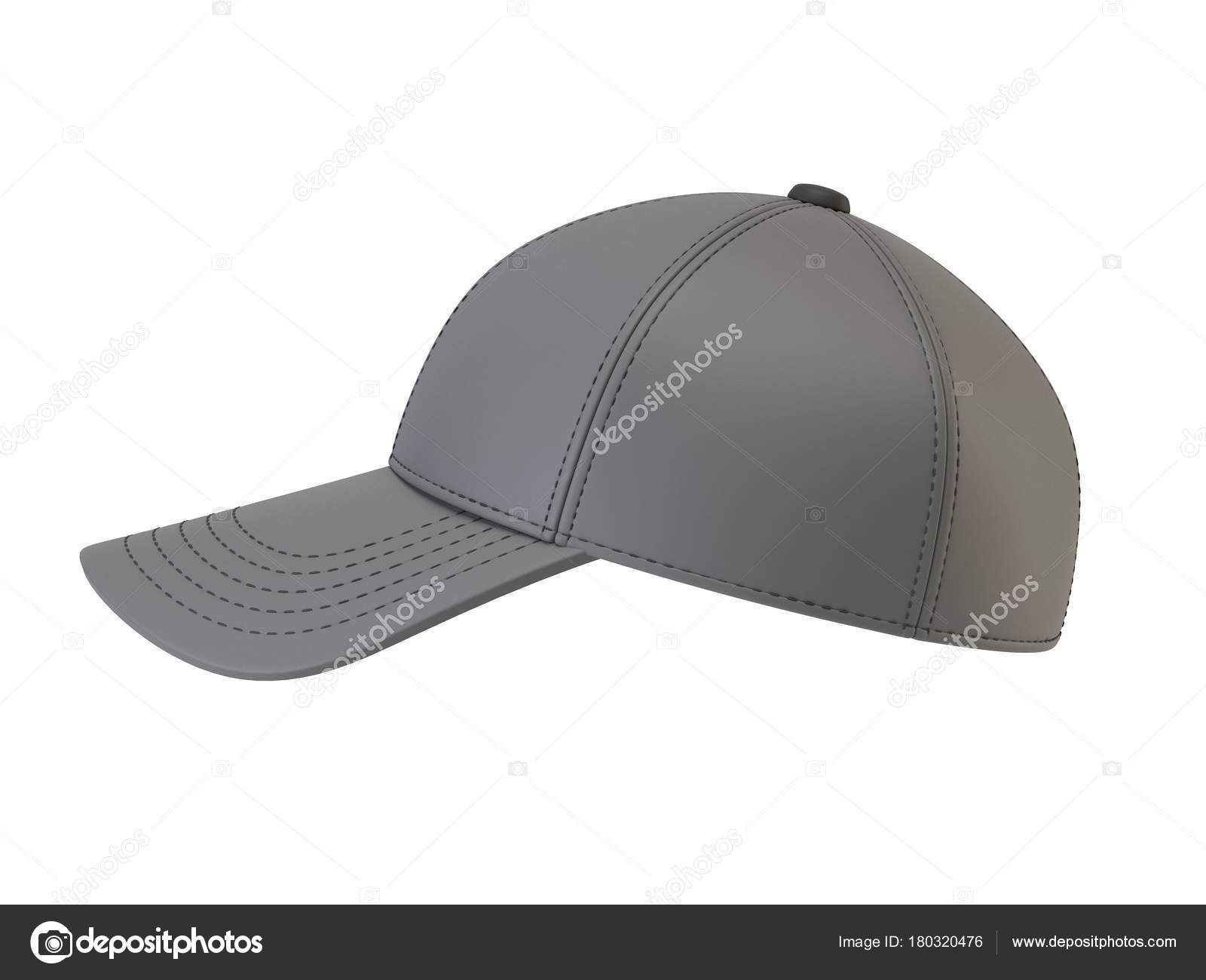 gray baseball cap mock blank hat template isolated white background