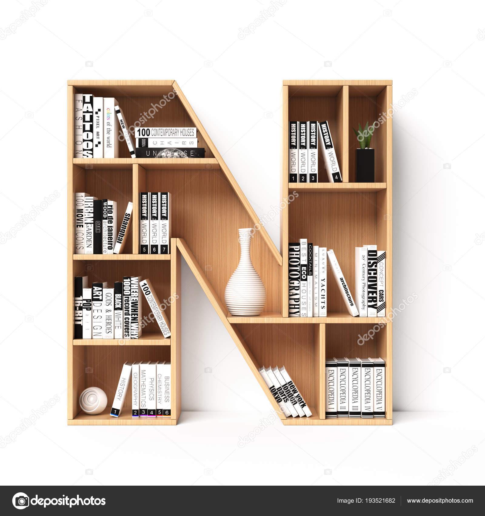 Bookshelves 3d Font Alphabet In The Form Of Book Shelves Mockup Letter N Rendering Photo By Koya979