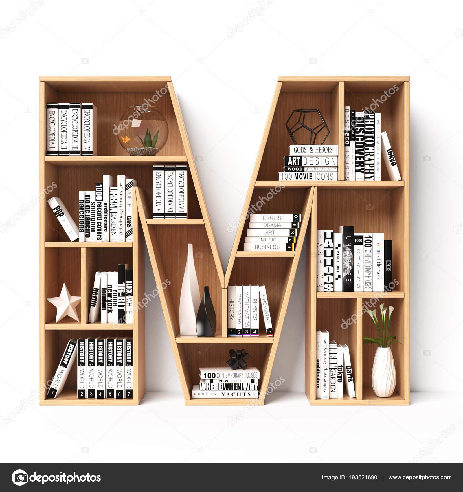 Bookshelves 3d Font Alphabet In The Form Of Book Shelves Mockup Letter M Rendering Photo By Koya979