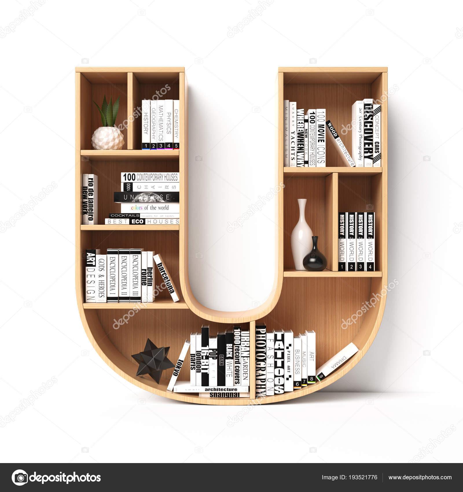 Bookshelves 3d Font Alphabet In The Form Of Book Shelves Mockup Letter U Rendering Photo By Koya979