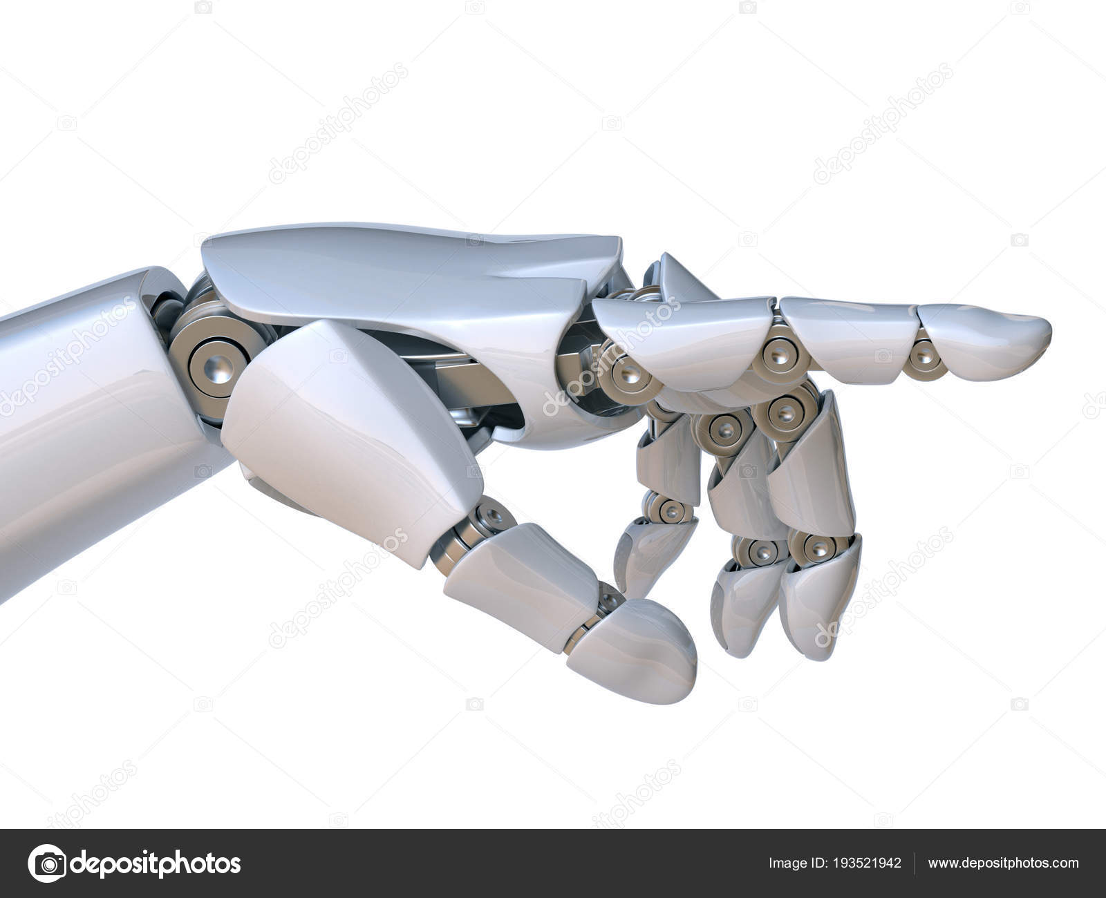 Robot Hand Pointing Index Finger Touching Gesture Rendering