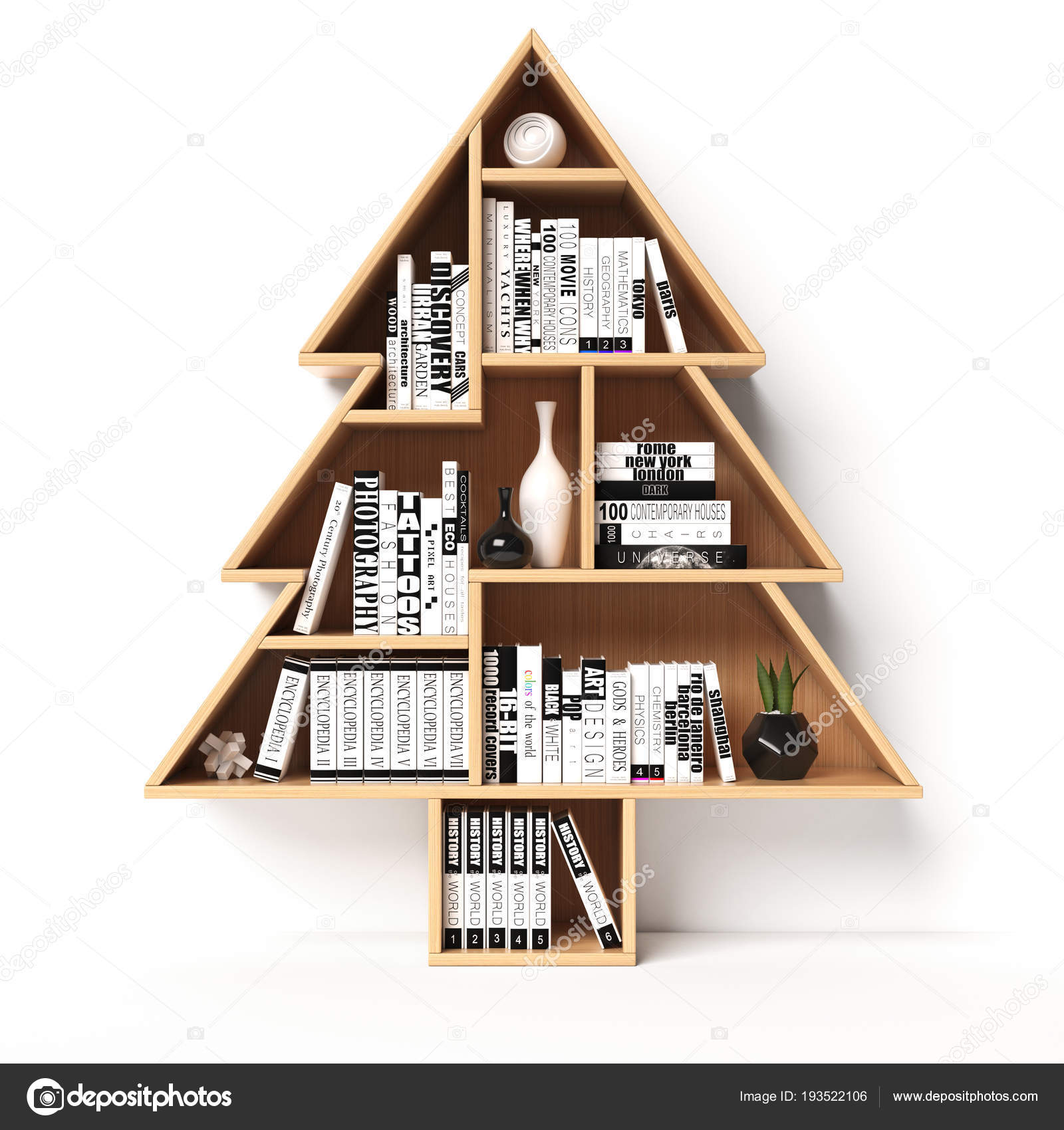 Bücherregale Form Eines Weihnachtsbaumes Weihnachtsgeschenk Buch ...