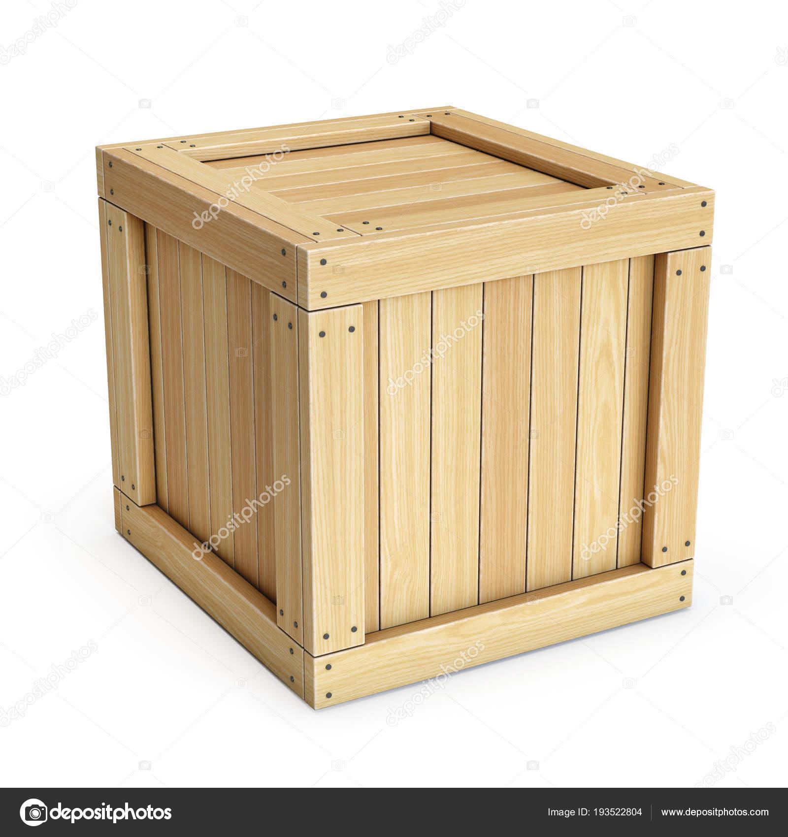caisse bois coffre isolé sur fond blanc rendu — photographie koya979