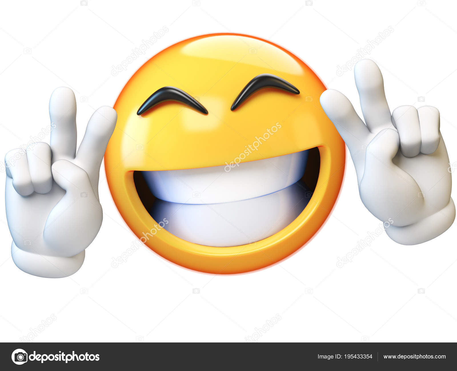 Peace Emoji Isolated White Background Victory Emoticon Rendering Stock Photo C Koya979 195433354