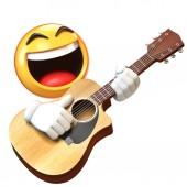 emoji spielen gitarre isoliert auf weißem hintergrund, emoticon gitarrist 3d rendering