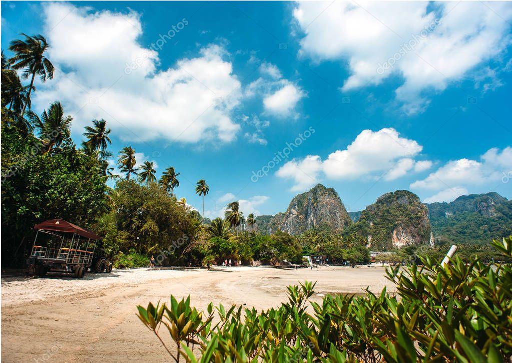 Tropical landscape with beach, cliff rocks. Thailand, Krabi