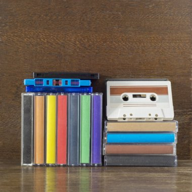 Stack of old colorful audio cassettes