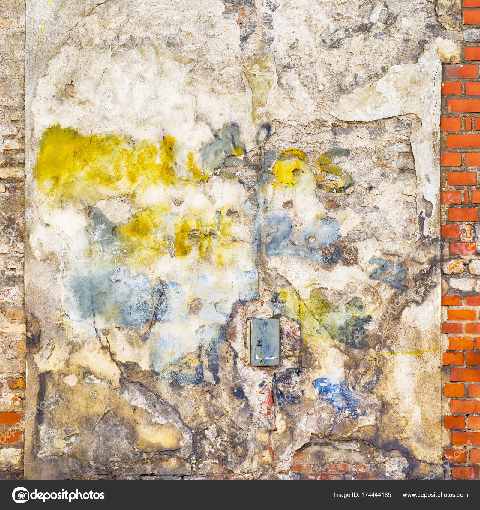 colorful painted abandoned brick wall background — Stock Photo ...