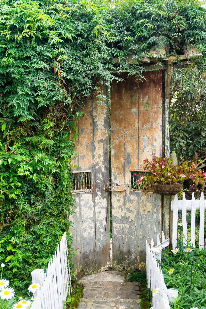 Alte Rustikale Tür Abgedeckt Im Laub In Einem Garten In Salento, Kolumbien  U2014 Foto Von Jkraft5