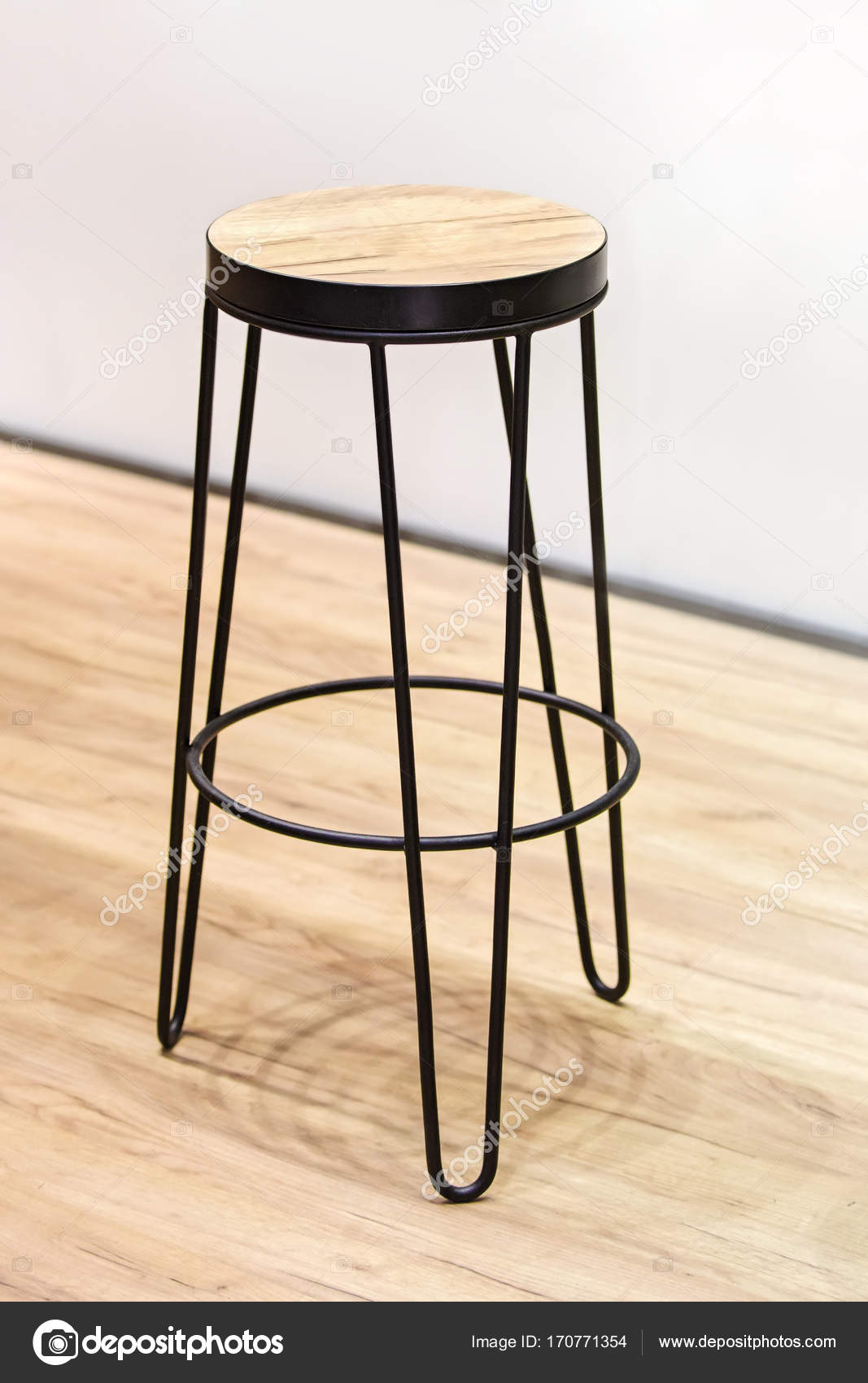 Fashionable Wooden High Chair For Restaurant Bar Wood And Forged