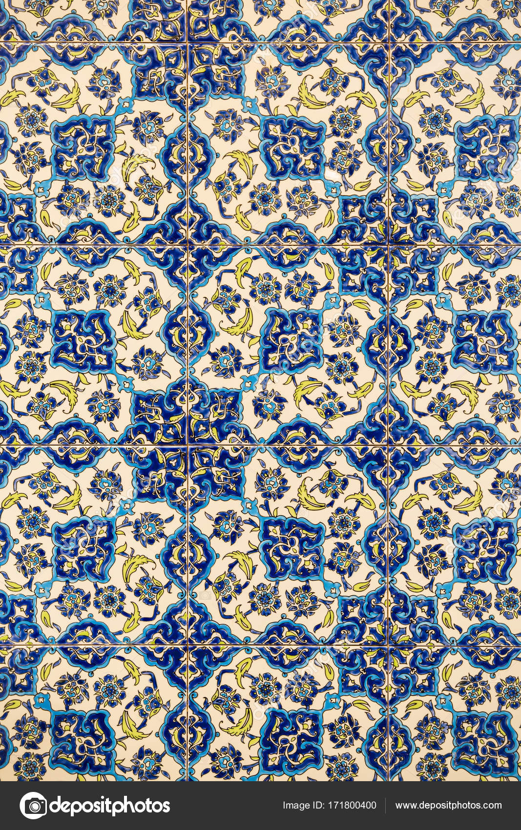 flower patterns on ceramic tiles in the old Turkish style, detail of ...
