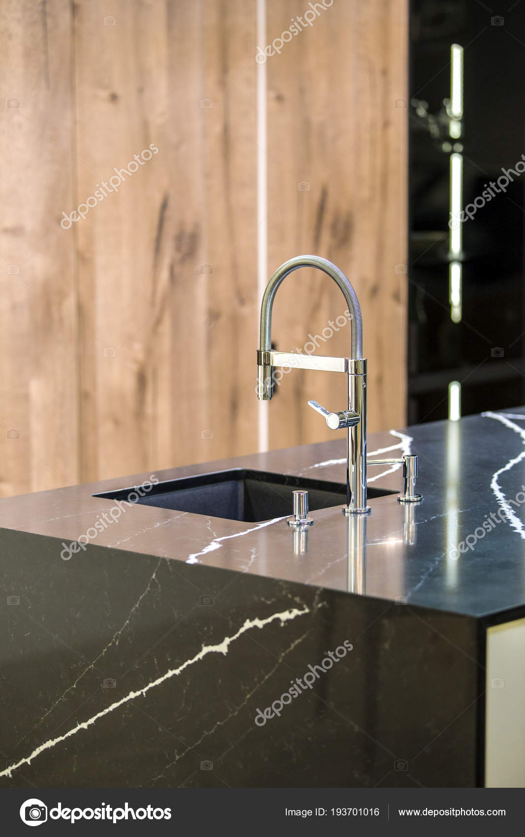 Kitchen Faucet Modern Kitchen In Loft Style Black Marble Table