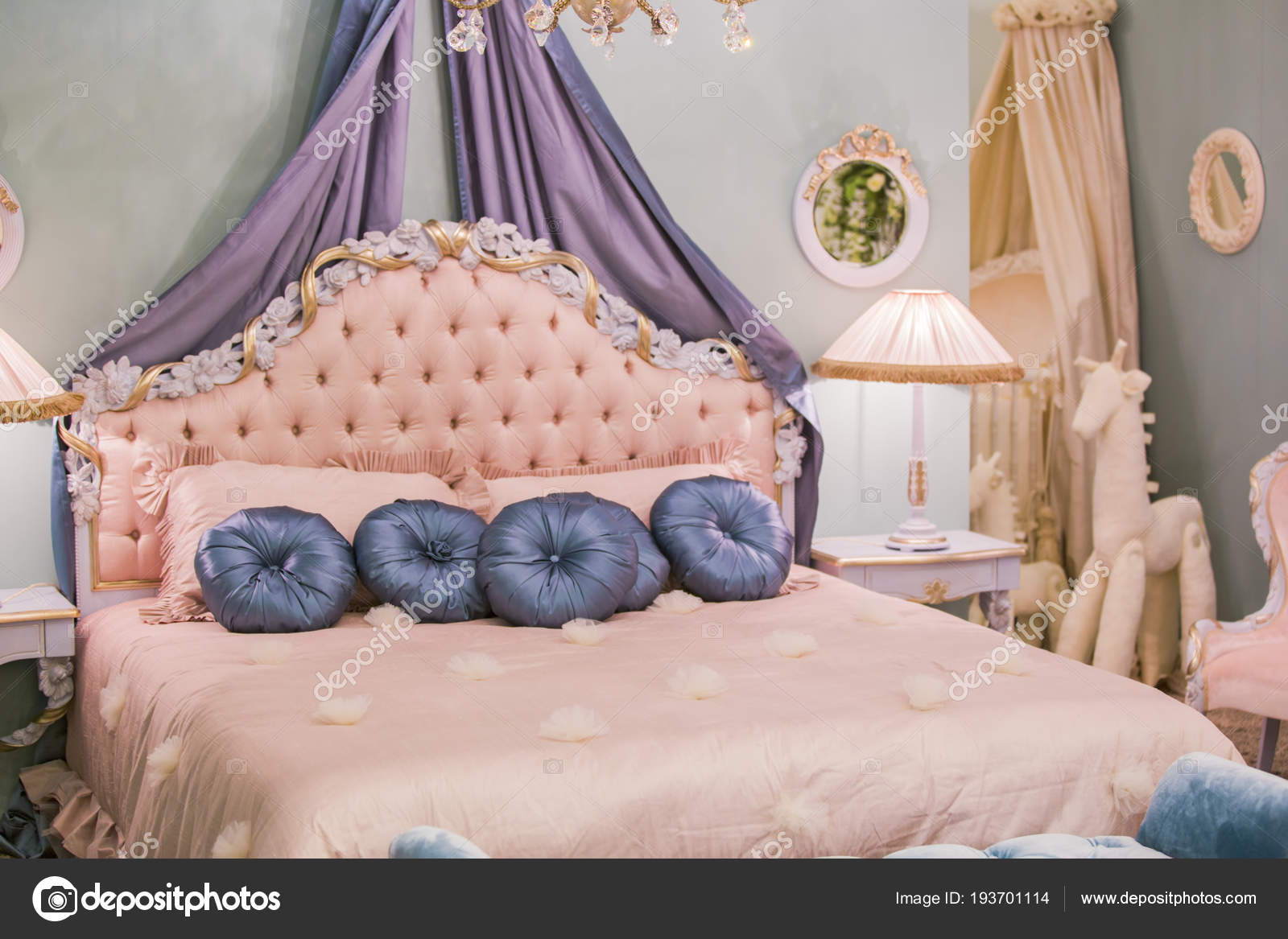 pink little princess room with satin pillows bedside lamps bedside rh depositphotos com