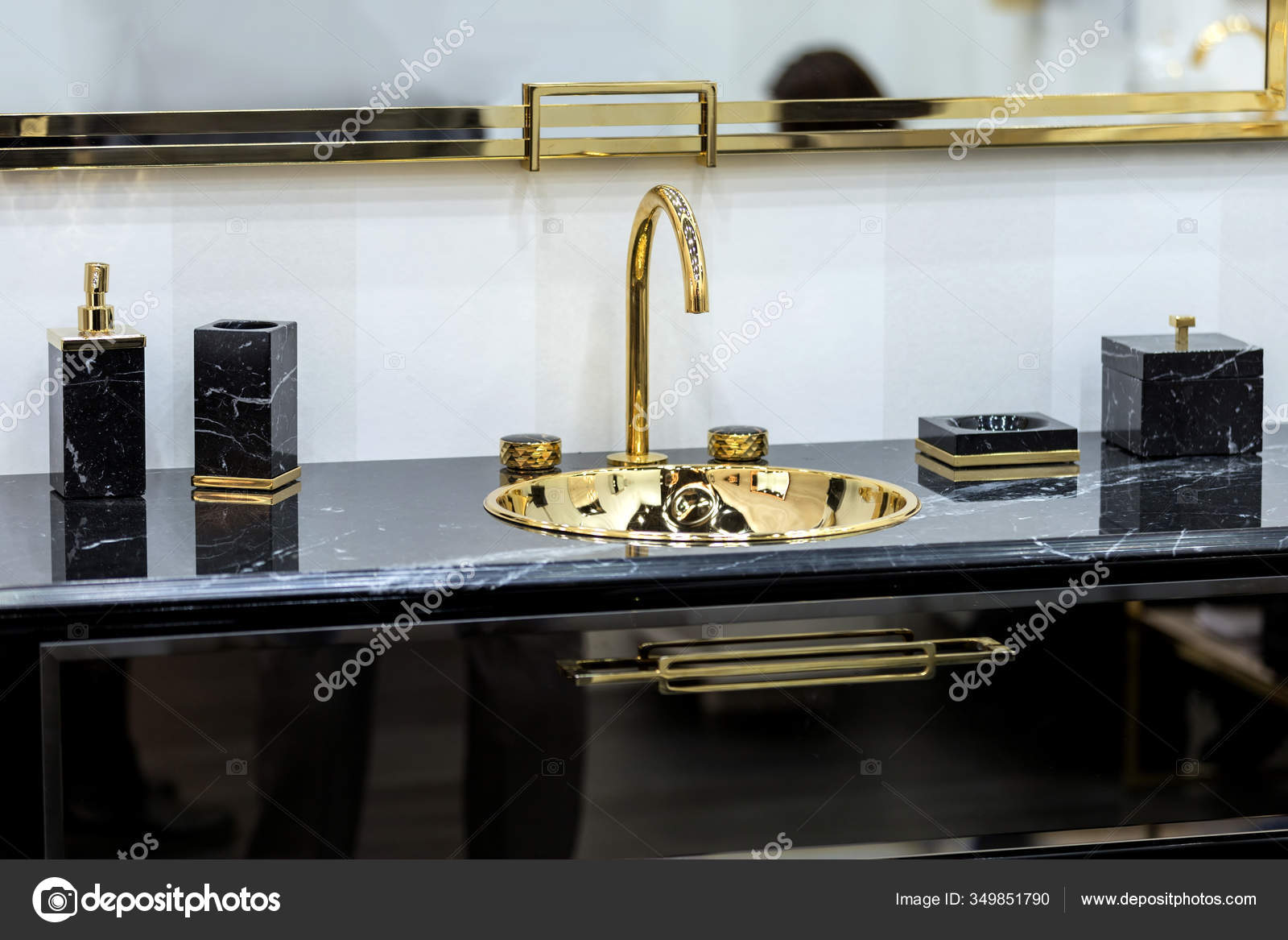 Beautiful Black Marble Washbasin Gold Tap Fittings Gold Sink Led Stock Photo Image By C Olga Prava 349851790