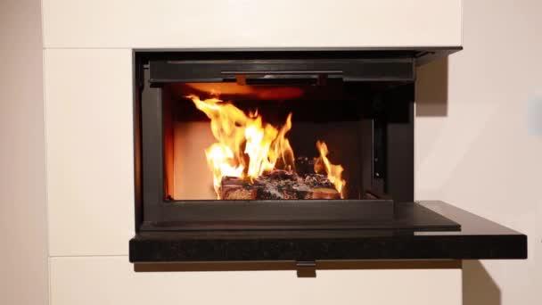pěkný pohled na hořící dřevo v krbu