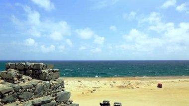 Bushiribana Gold Smelter ruins. North coast, Aruba Island, tourism, historic. Amazing natural landscape and blue sky.