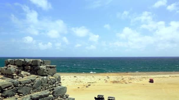 Fonderia doro di Bushiribana rovine. Viaggi Costa, isola di Aruba, Nord, storico. Paesaggio naturale stupefacente e cielo blu