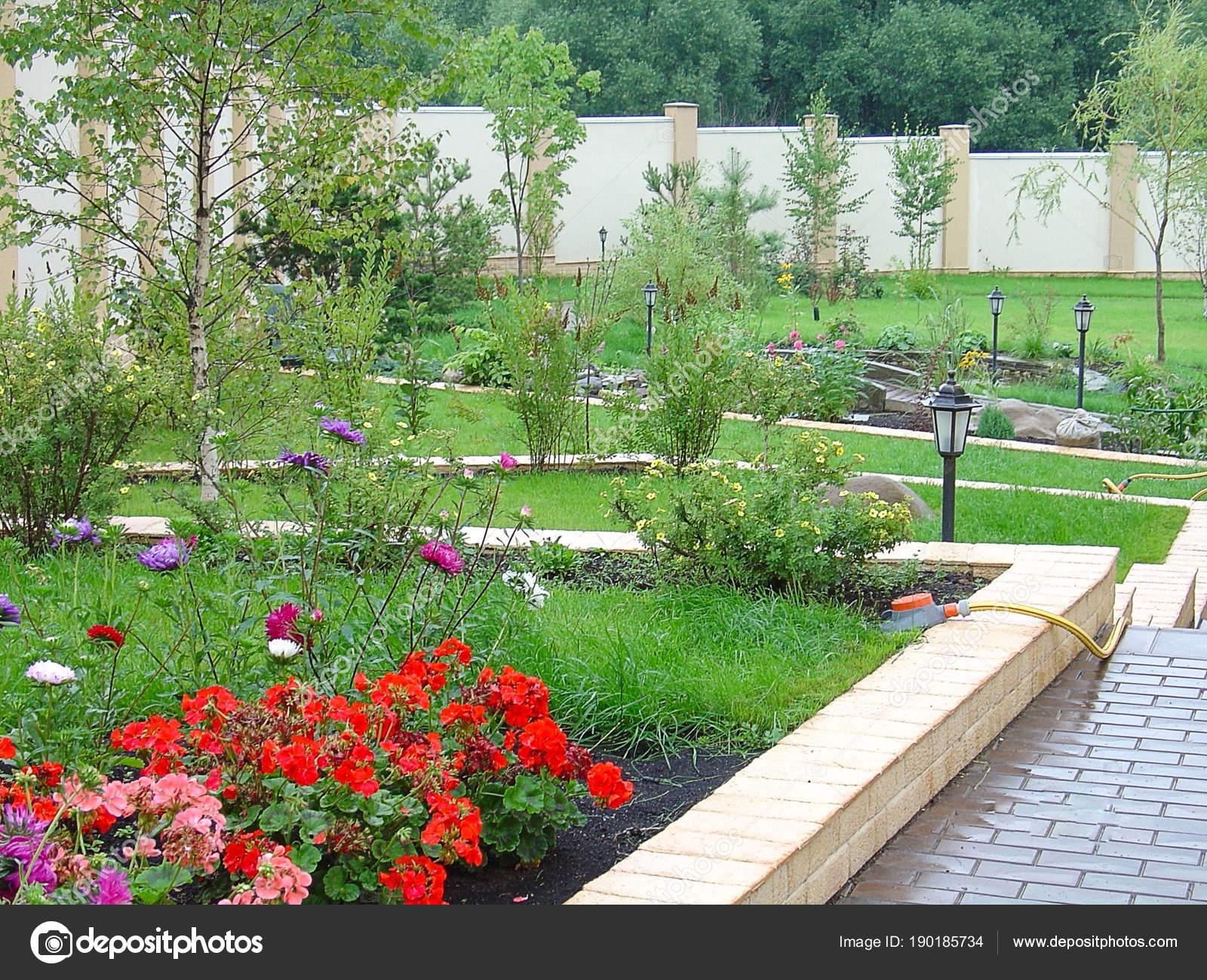 Ontwerp van het prachtige landschap van een privé tuin kleurrijke