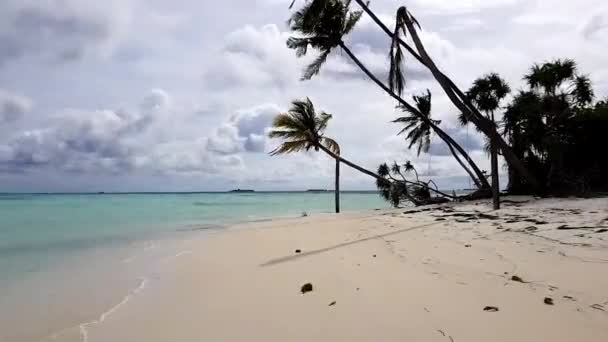 Amazing beauty white sand beach, turquoise water and blue sky with white clouds view. Indian Ocean, Maldives. Time lapse.