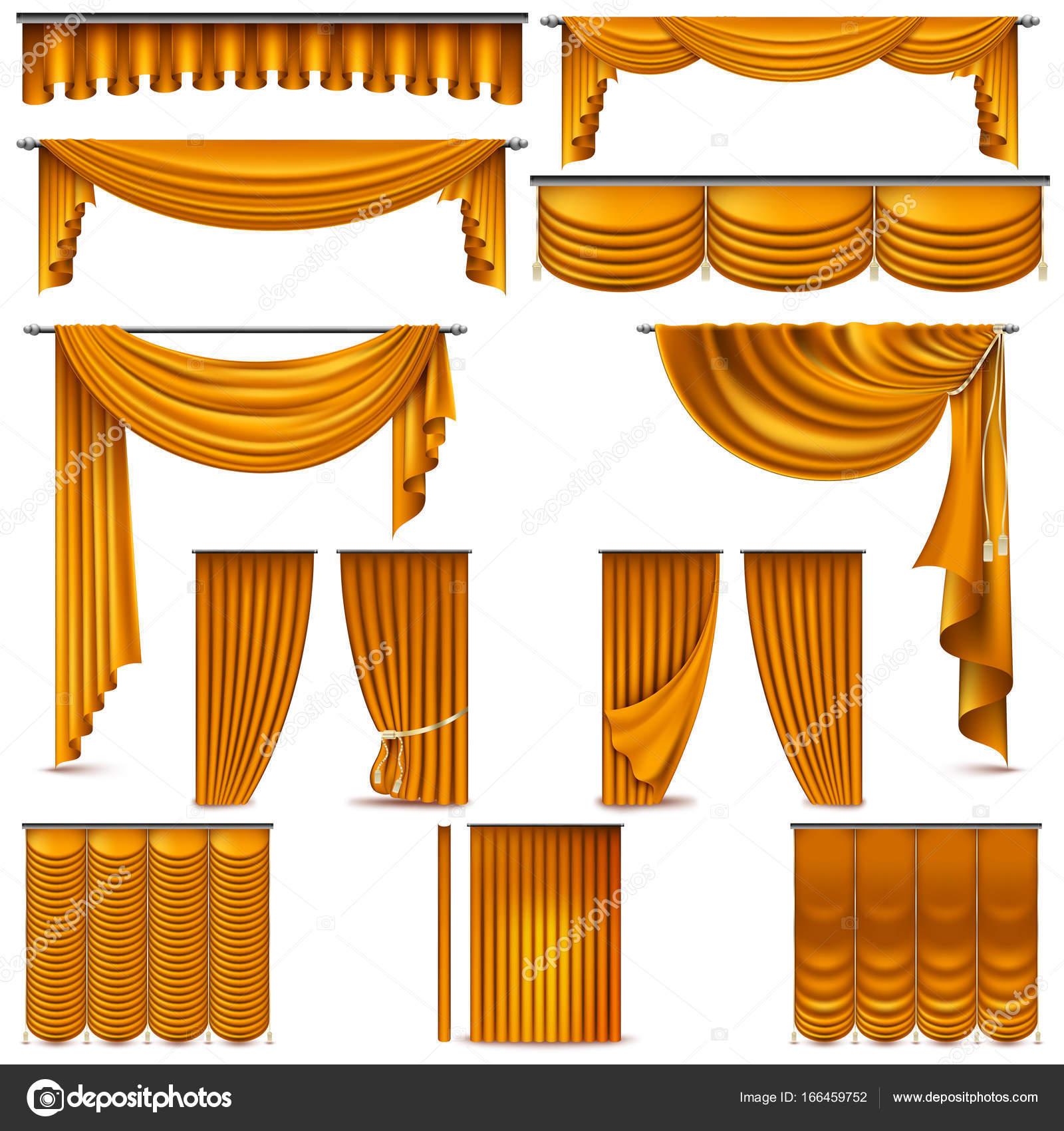 gordijnen en draperien interieur decoratie object gesoleerd op wit voor theater podium en omvat ook eps 10 vector vector van beresdmit2501