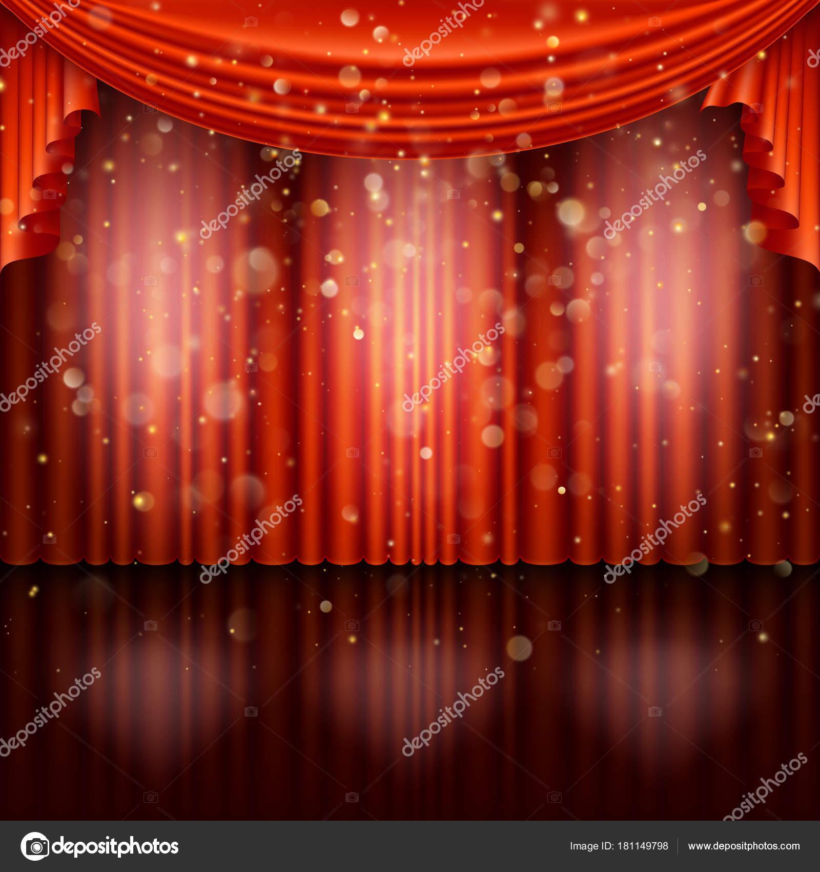 Stage avec le rideau rouge. 10 EPS vectoriel — Image vectorielle ...
