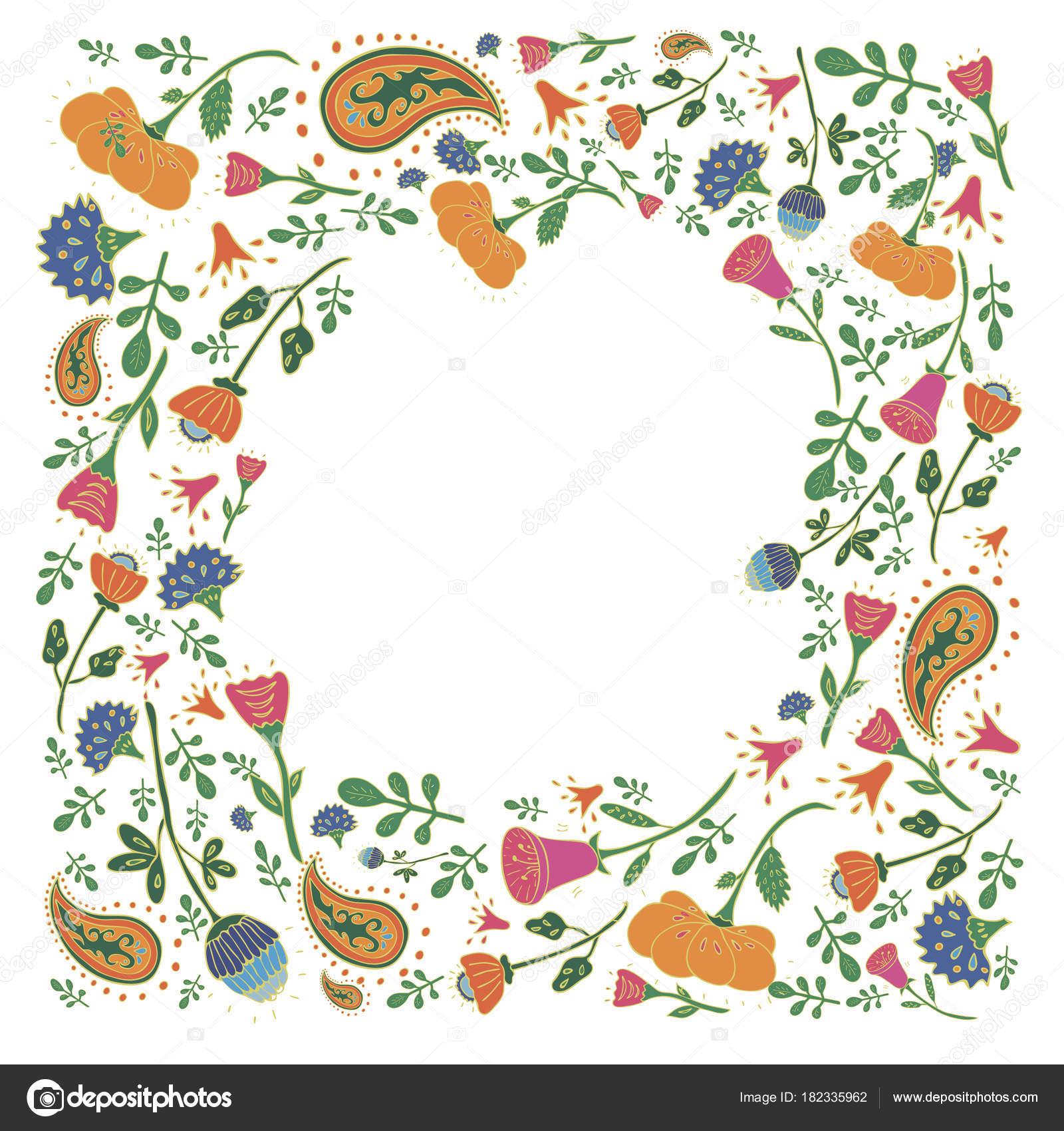 06969f227ce41 Marco rectangular dibujada a mano con lindas flores y hojas. Patrón floral  Primavera romántica y Pascua diseño
