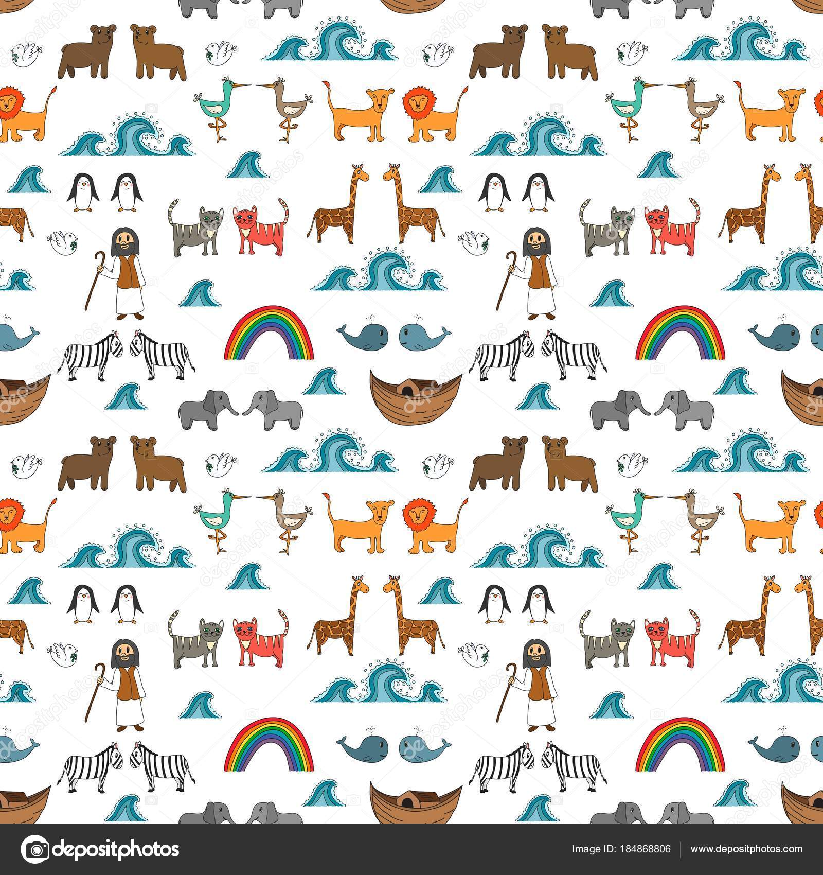 Vector Seamless Pattern Noah Ark Concept Bible Story Kids