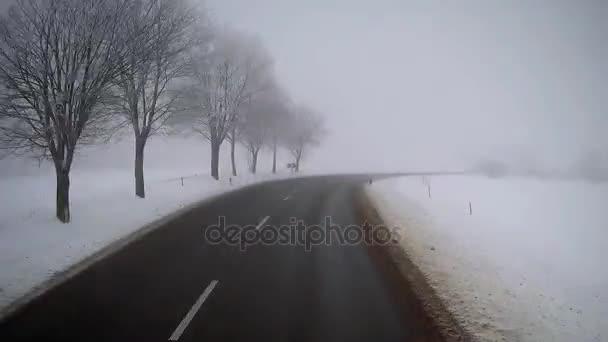 Řízení v zimě mlha silnice nákladních