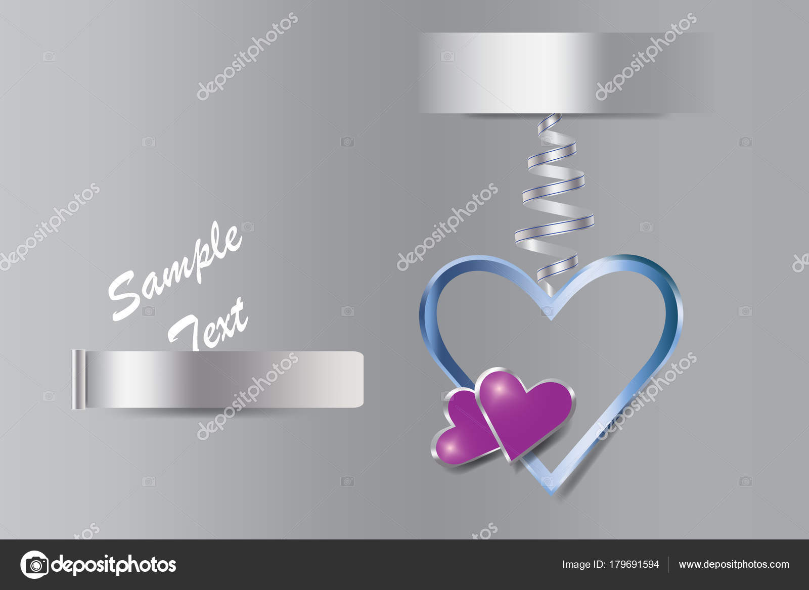 Corazón de plata marco de metal con dos corazones púrpura — Archivo ...