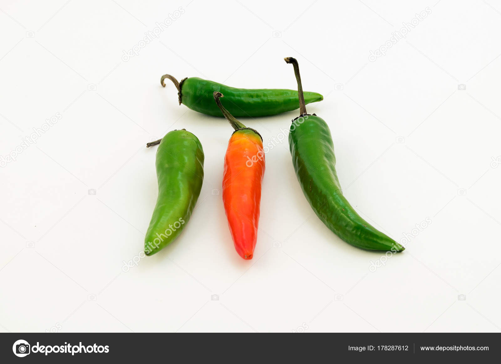 d407a5ef59ed Bitter Pepper Four Pieces Three Green One Orange — Stock Photo ...