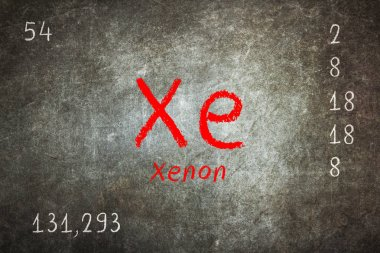 Isolated blackboard with periodic table, Xenon