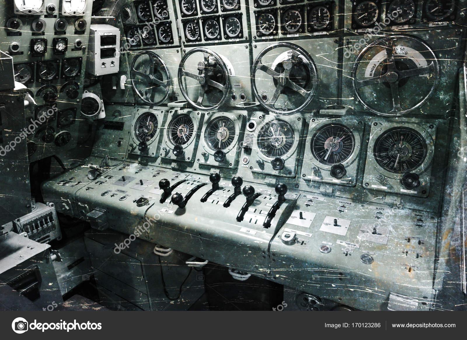 Interior Of An Old Submarine   Command Room U2014 Stock Photo