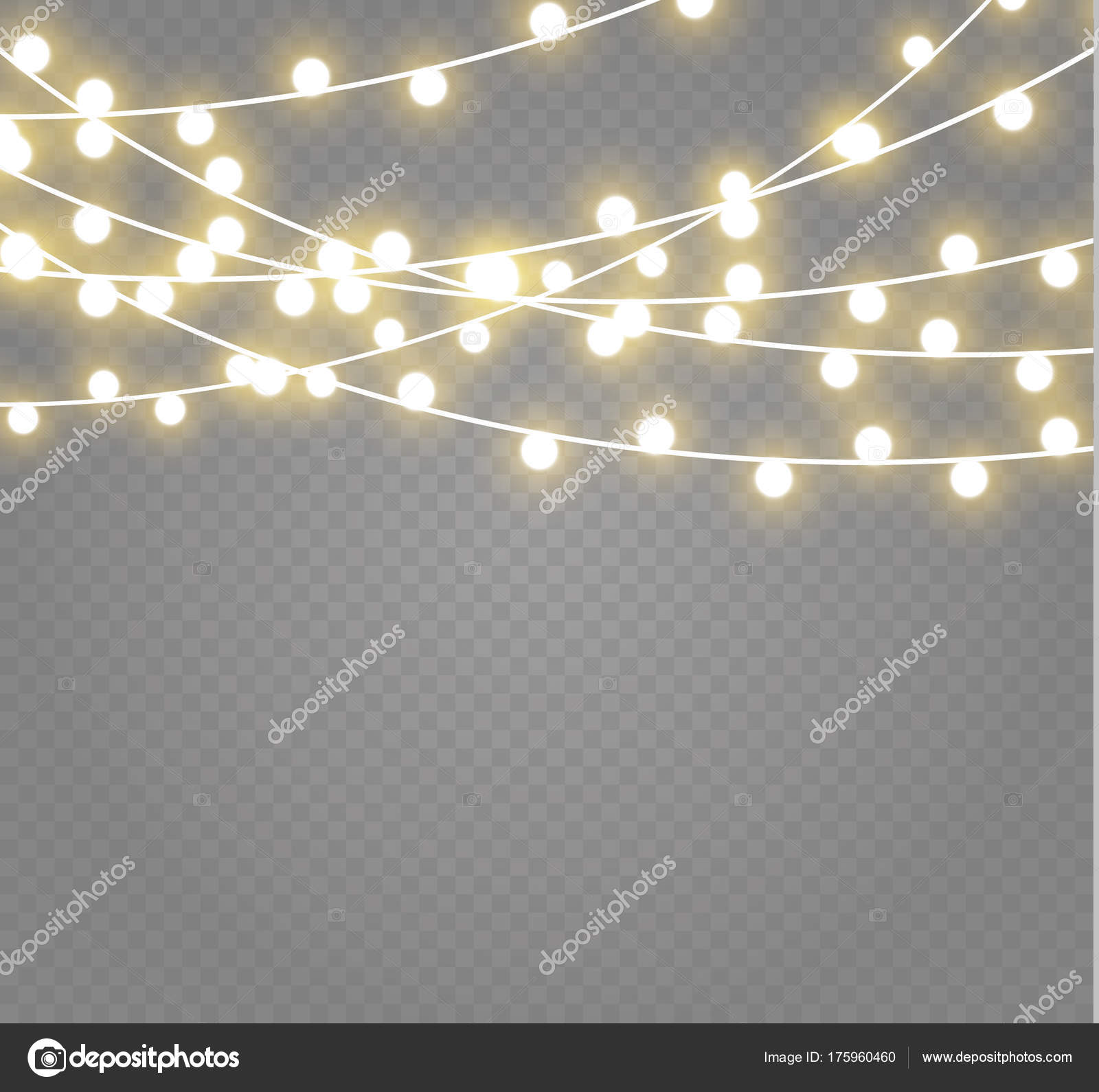 Christmas Lights Transparent Background.Christmas Lights Isolated On Transparent Background Xmas